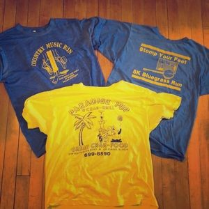 Lot of 3 Vintage Soft Running Music Bar T-Shirts